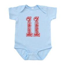 11, Red, Vintage Infant Bodysuit