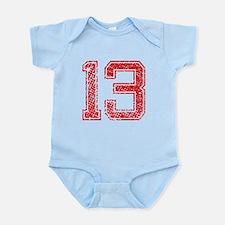 13, Red, Vintage Infant Bodysuit