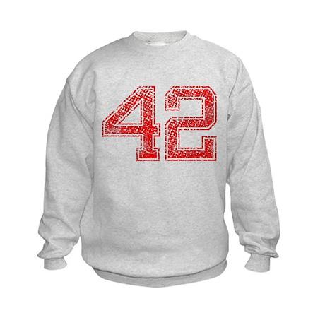 42, Red, Vintage Kids Sweatshirt