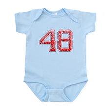 48, Red, Vintage Infant Bodysuit