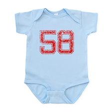 58, Red, Vintage Infant Bodysuit