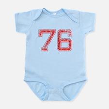 76, Red, Vintage Infant Bodysuit