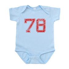 78, Red, Vintage Infant Bodysuit