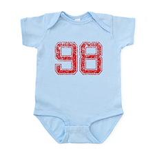 98, Red, Vintage Infant Bodysuit