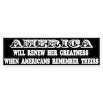 AMERICA WILL RENEW HER GREATNESS... Sticker (Bumpe