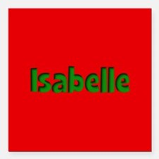 """Isabelle Red and Green Square Car Magnet 3"""" x 3"""""""