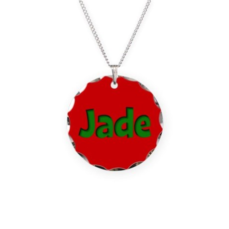 Jade Red and Green Necklace Circle Charm