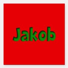 "Jakob Red and Green Square Car Magnet 3"" x 3"""