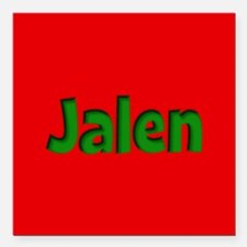 """Jalen Red and Green Square Car Magnet 3"""" x 3"""""""