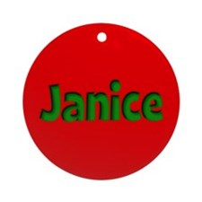Janice Red and Green Ornament (Round)