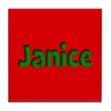 Janice Red and Green Tile Coaster