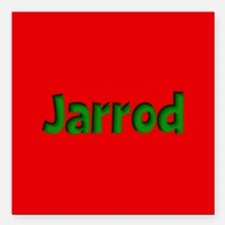 """Jarrod Red and Green Square Car Magnet 3"""" x 3"""""""