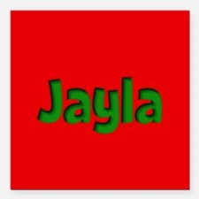 "Jayla Red and Green Square Car Magnet 3"" x 3"""