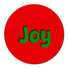 Joy Red and Green Round Car Magnet