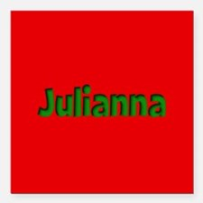 "Julianna Red and Green Square Car Magnet 3"" x 3"""