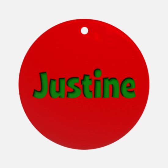 Justine Red and Green Ornament (Round)