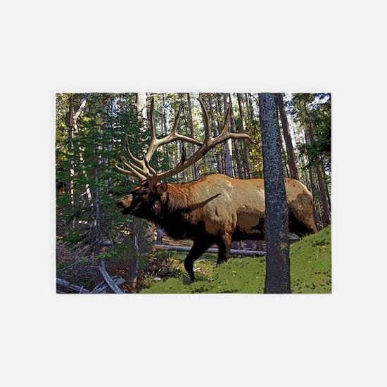 Bull elk in pines 5 5'x7'Area Rug