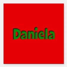 "Daniela Red and Green Square Car Magnet 3"" x 3"""