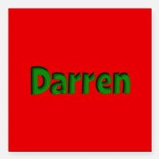 "Darren Red and Green Square Car Magnet 3"" x 3"""