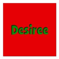 """Desiree Red and Green Square Car Magnet 3"""" x 3"""""""