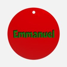 Emmanuel Red and Green Ornament (Round)
