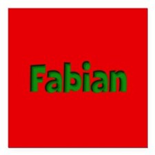"""Fabian Red and Green Square Car Magnet 3"""" x 3"""""""