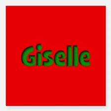 """Giselle Red and Green Square Car Magnet 3"""" x 3"""""""