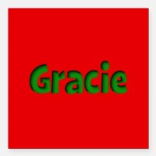 """Gracie Red and Green Square Car Magnet 3"""" x 3"""""""