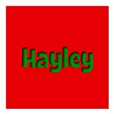 "Hayley Red and Green Square Car Magnet 3"" x 3"""