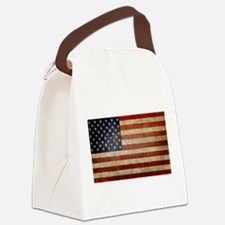 Weathered American Flag Canvas Lunch Bag