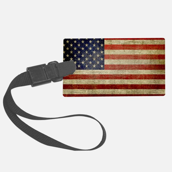 Weathered American Flag Large Luggage Tag