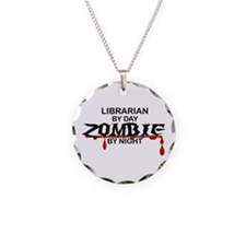 Librarian Zombie Necklace Circle Charm