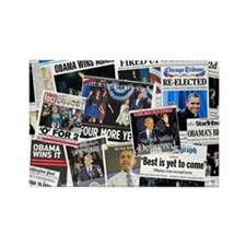 Obama Wins 2012 Newspaper Rectangle Magnet (100 pa