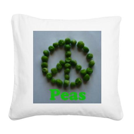 Peas (Peace) Square Canvas Pillow