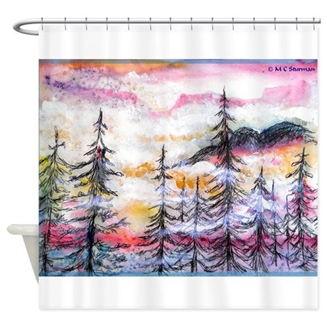 Landscape, colorful art! Shower Curtain