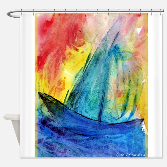sailboat! Colorful art! Shower Curtain