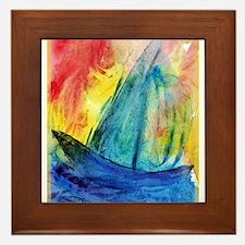 sailboat! Colorful art! Framed Tile