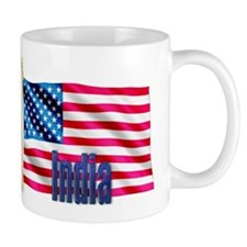 India Personalized Patriotic USA Flag Gift Mug