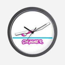 Swimmer (Girl) Pink Suit Wall Clock