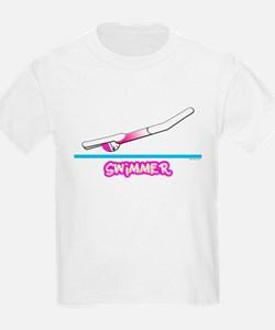 Swimmer (Girl) Pink Suit Kids T-Shirt