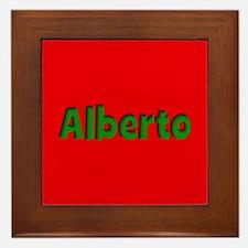 Alberto Red and Green Framed Tile