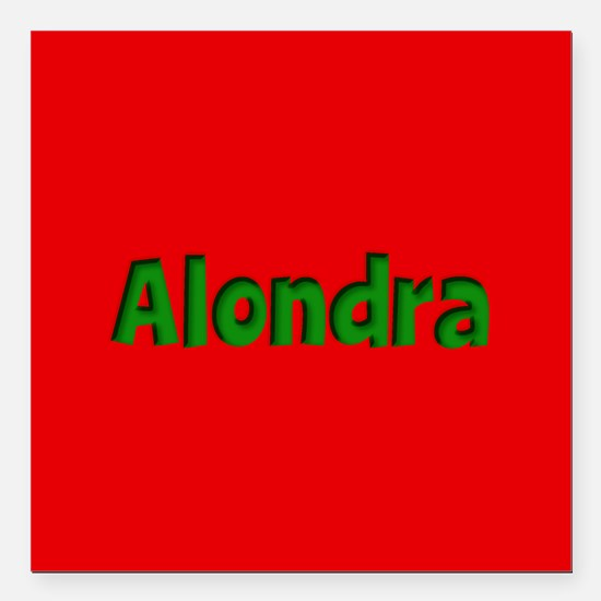 "Alondra Red and Green Square Car Magnet 3"" x 3"""