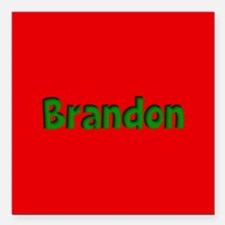 """Brandon Red and Green Square Car Magnet 3"""" x 3"""""""
