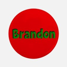 """Brandon Red and Green 3.5"""" Button"""