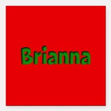 """Brianna Red and Green Square Car Magnet 3"""" x 3"""""""