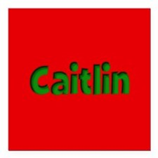 "Caitlin Red and Green Square Car Magnet 3"" x 3"""