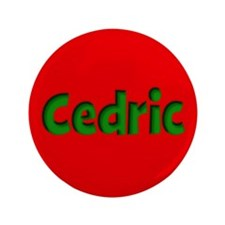 """Cedric Red and Green 3.5"""" Button"""