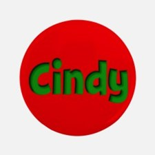 """Cindy Red and Green 3.5"""" Button"""