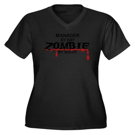 Manager Zombie Women's Plus Size V-Neck Dark T-Shi