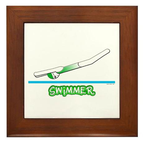Swimmer (Girl) Green Suit Framed Tile